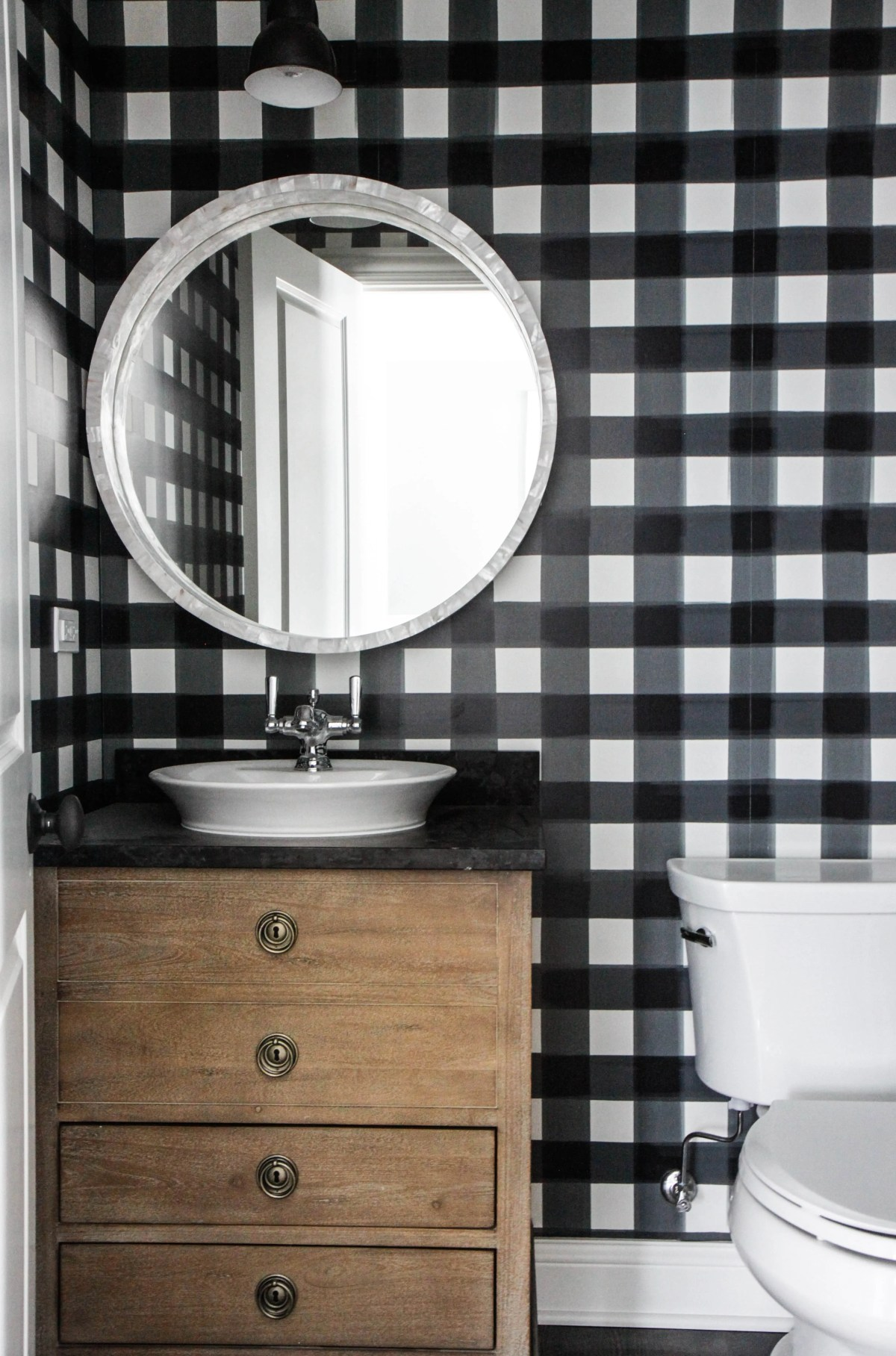 buffalo check bathroom with wood vanity