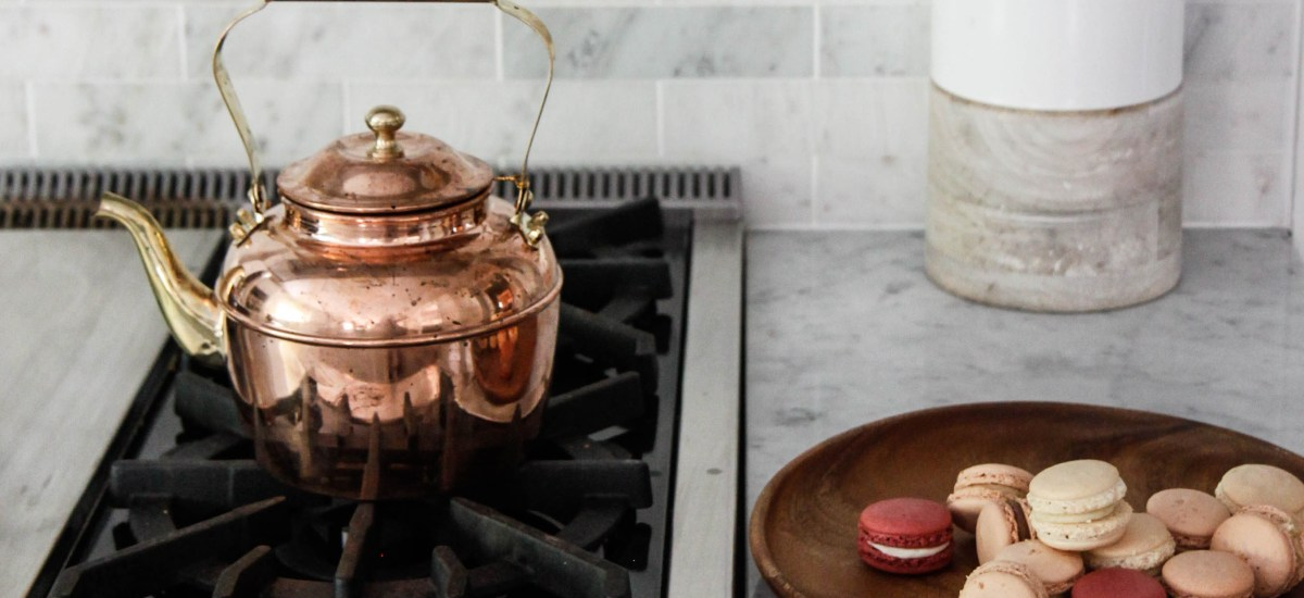 marble kitchen copper pot and macarons