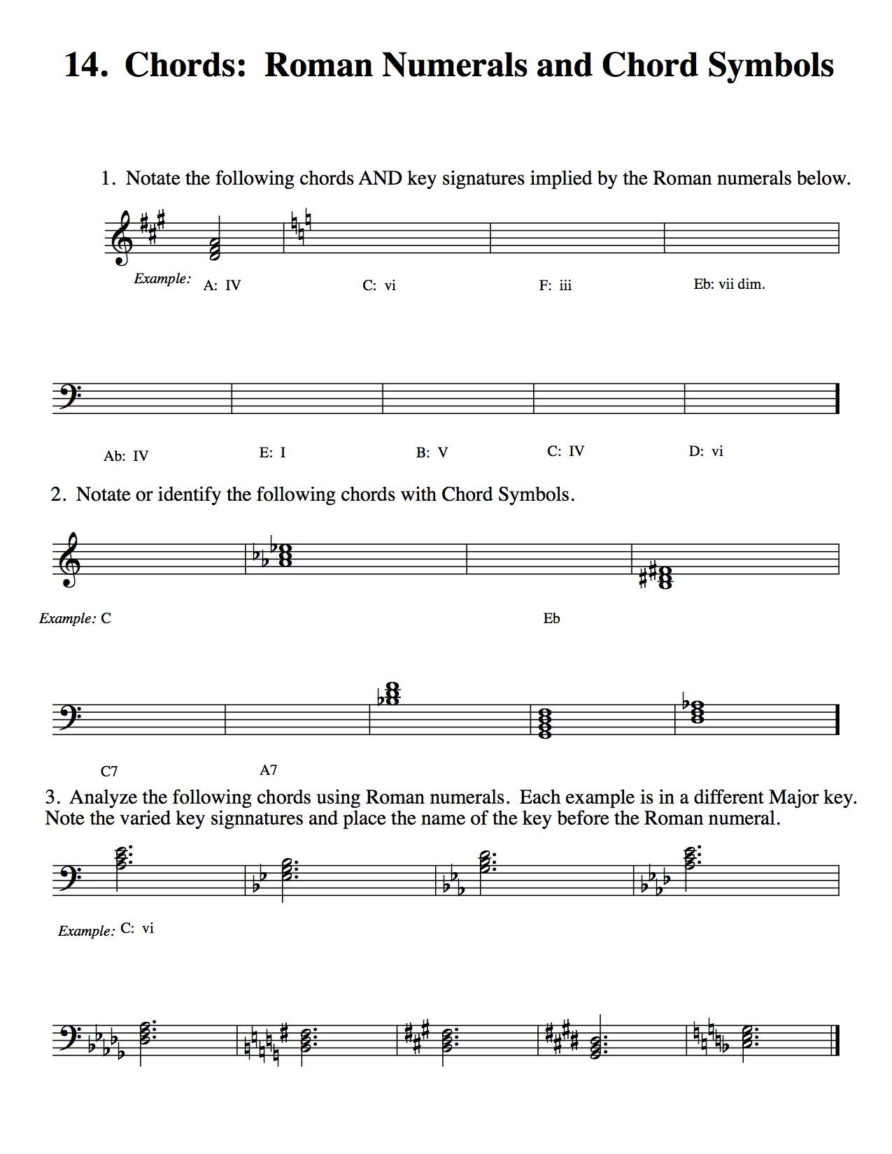 Park Arts Chords Roman Numerals And Chord Symbols