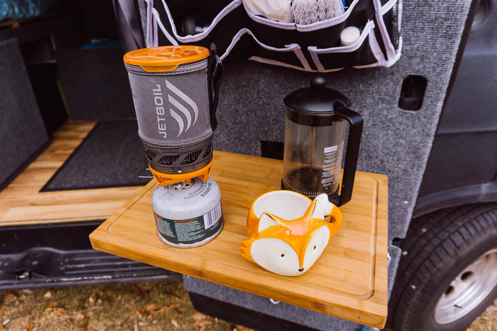 french press coffee in a diy camper van conversion