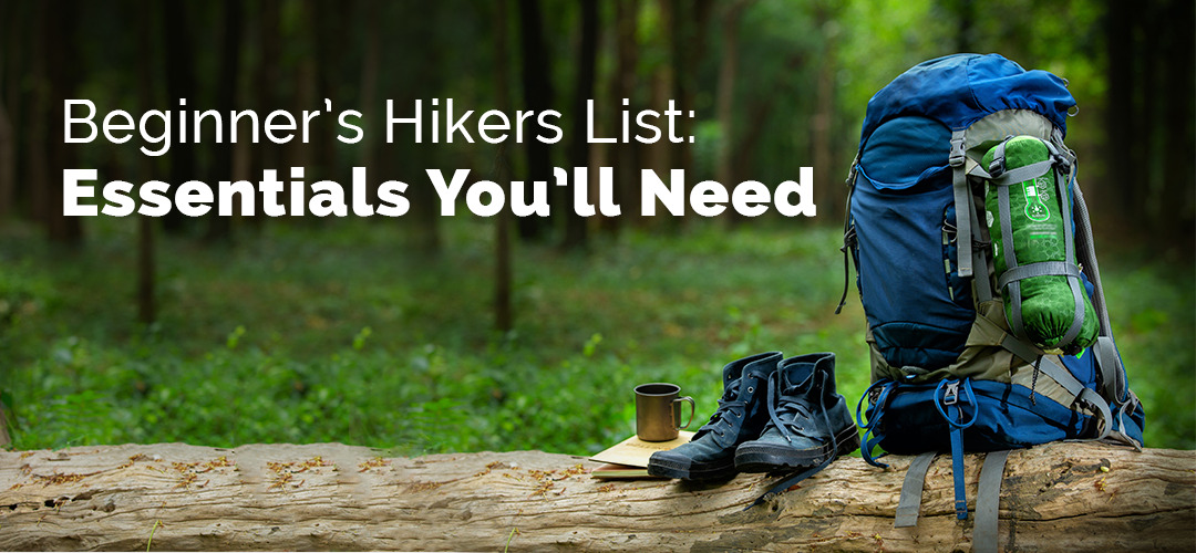 essentials that you need to plan a beginner hiking trip including shoes, backpacks, and water for hydration