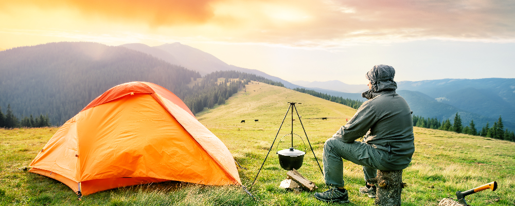 Man in the Mountains camped