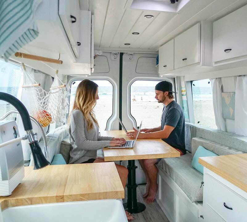 mobile office space to make money on the road while living in a camper van