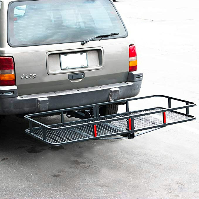 camping with a travel hitch cargo carrier