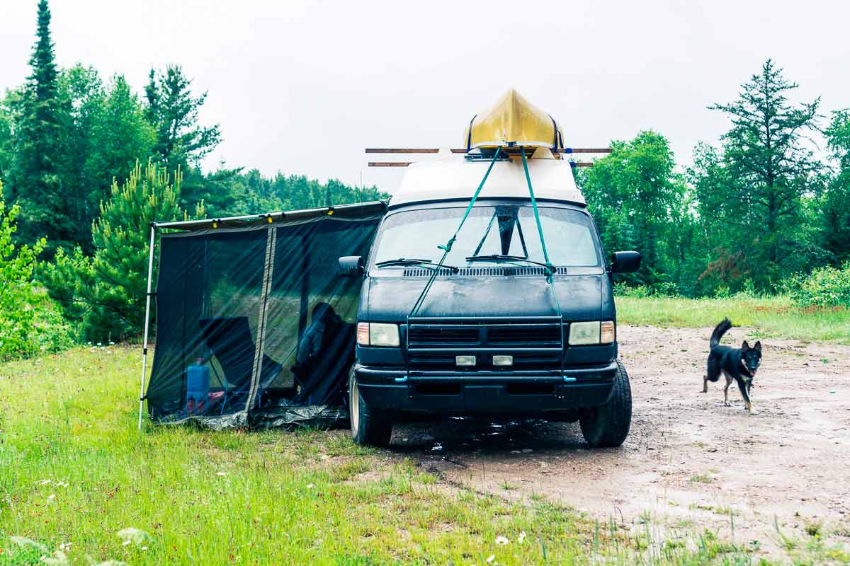 Canoe On Top Of a Camper Van