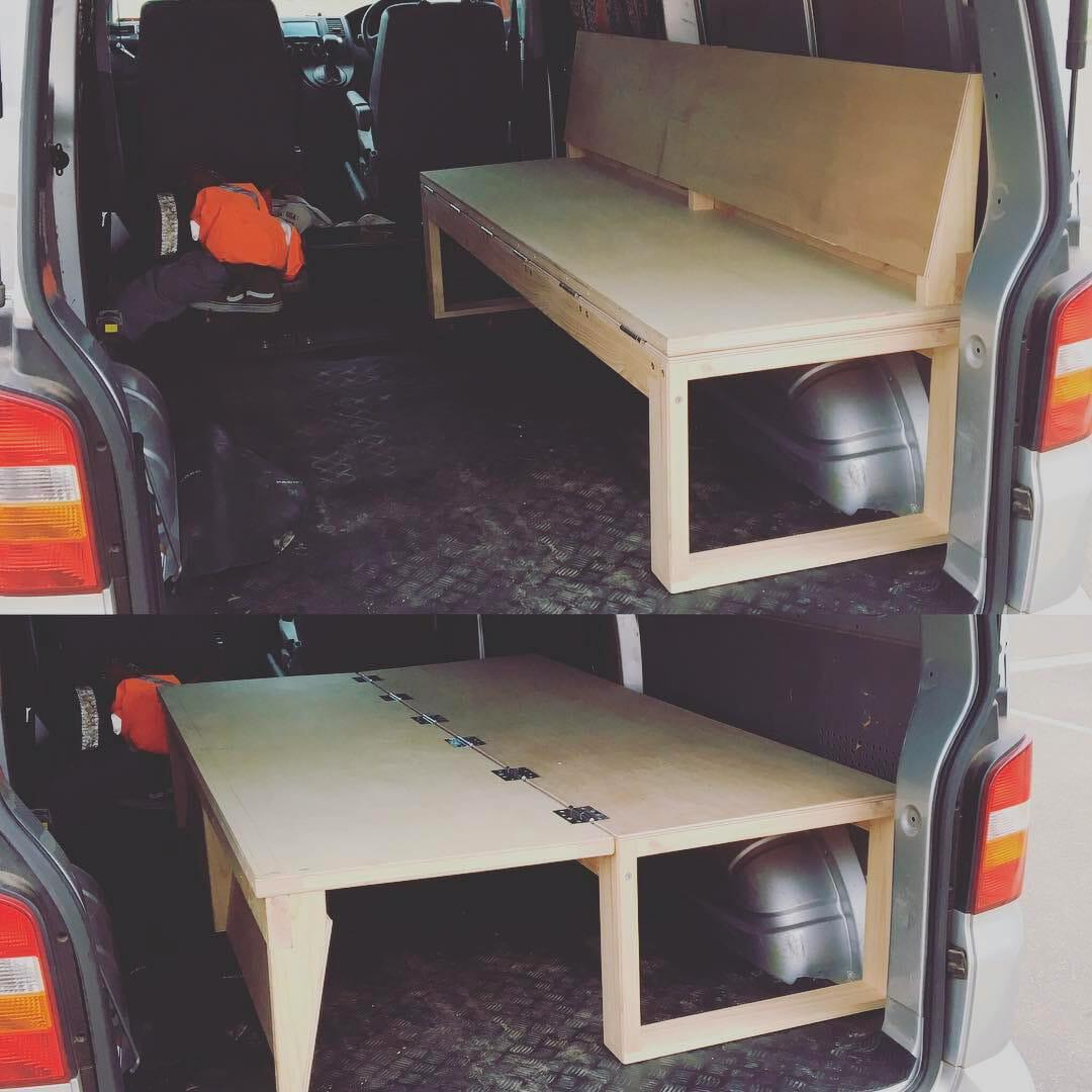 flip bed design for camper van conversion design
