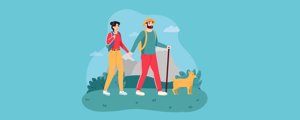 A couple travelling with pets