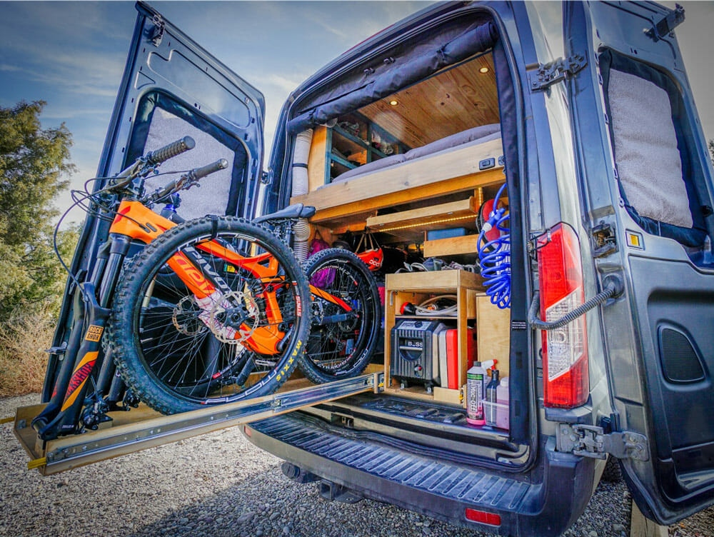 Pivot bicycle in a van