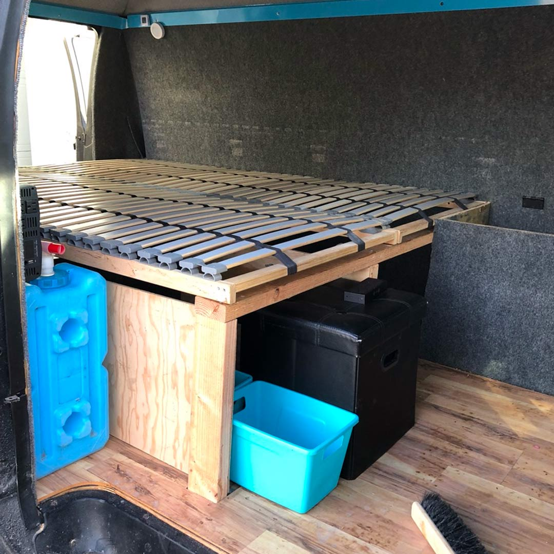 diy platform camper van bed design
