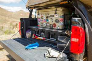 large camping cooler for a pickup truck