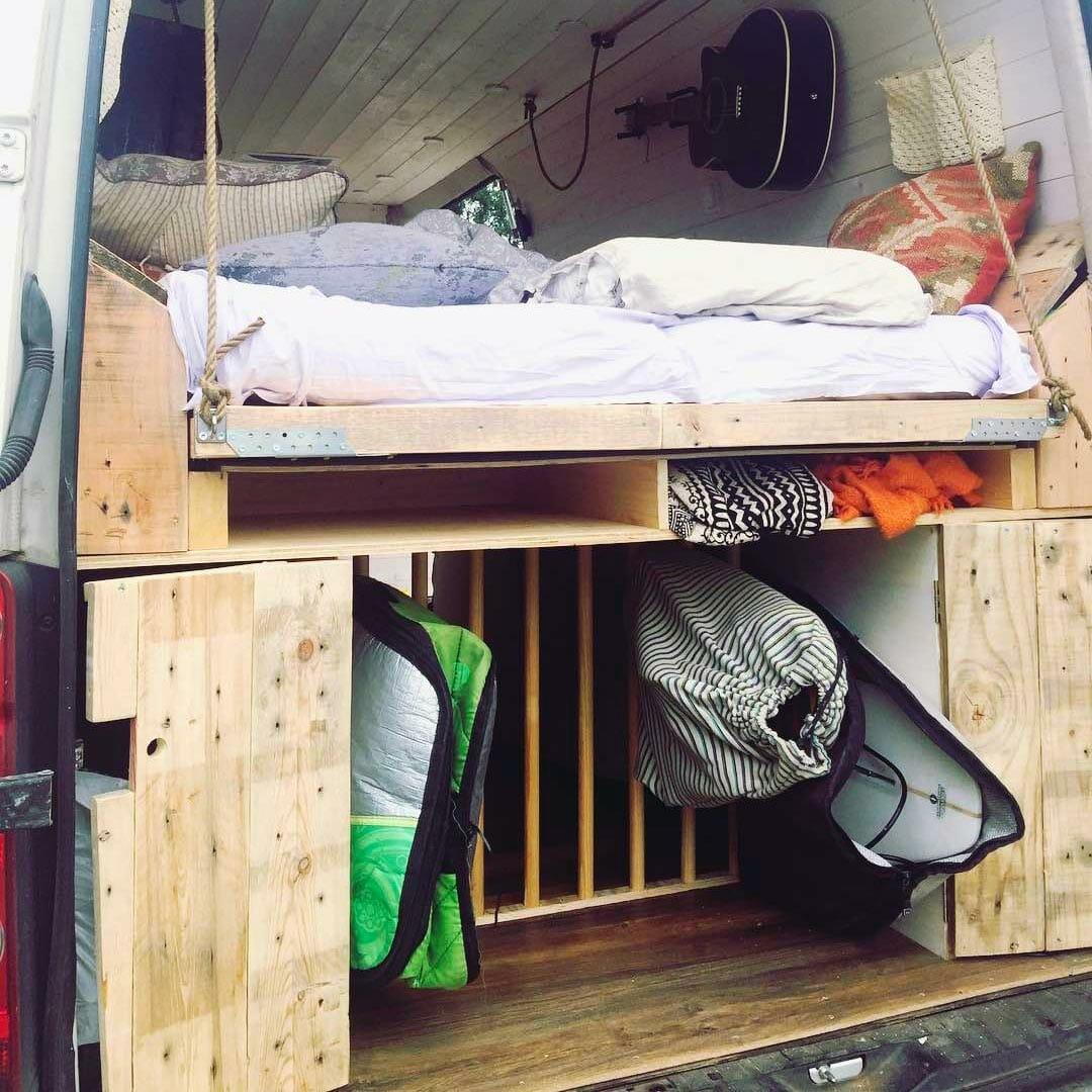 diy platform bed design that swings out in a campervan conversion build