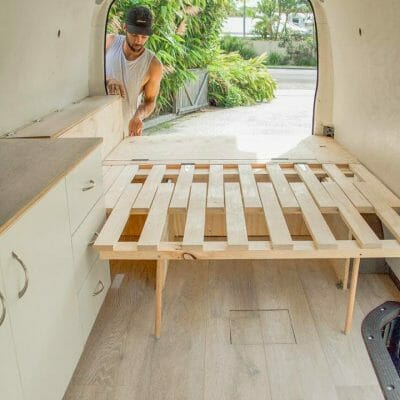 Building A Slider Bed Design Into A Custom Diy Campervan Conversion Build