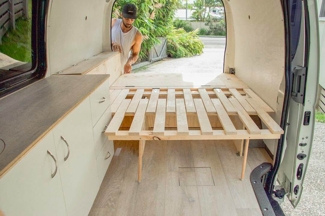 Building A Slider Bed Design Into A Custom Diy Campervan Conversion Build