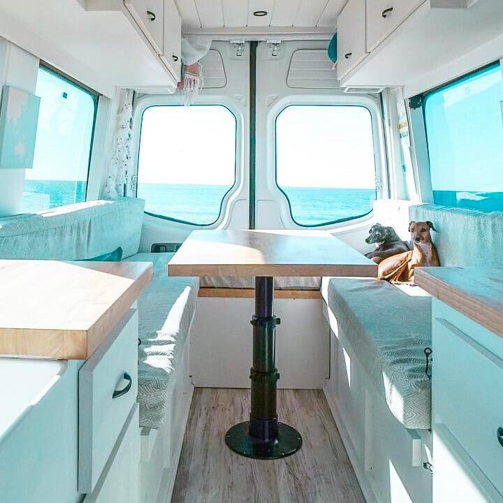 telescoping table top and bed design ideas in a diy camper van conversion build