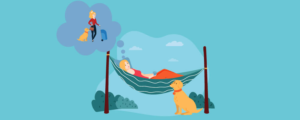 A girl lying down on a hammock think of travelling with her dog