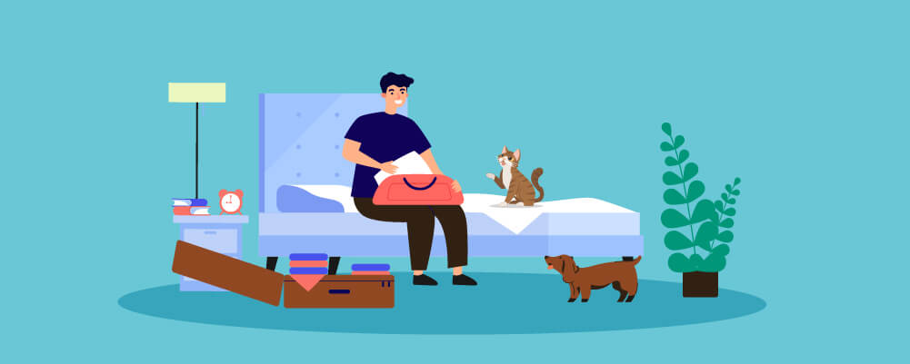 Man preparing and packing so that he can travel with his dog