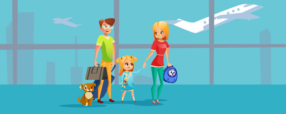 A family Travelling with their pet