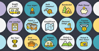 vanlife achievement sticker pack