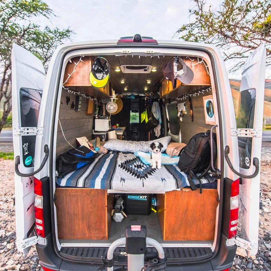 building a diy platform bed design into a camper van conversion for van life