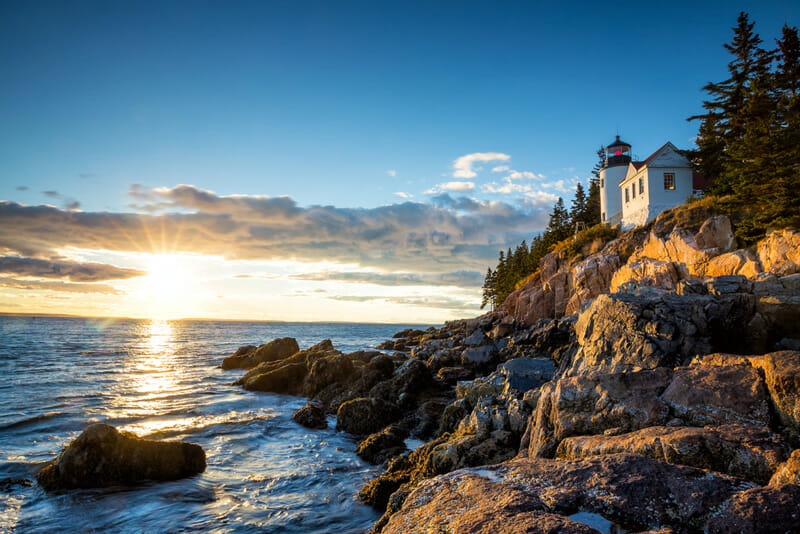 Lighthouse At Bar Harbor In Acadia National Park