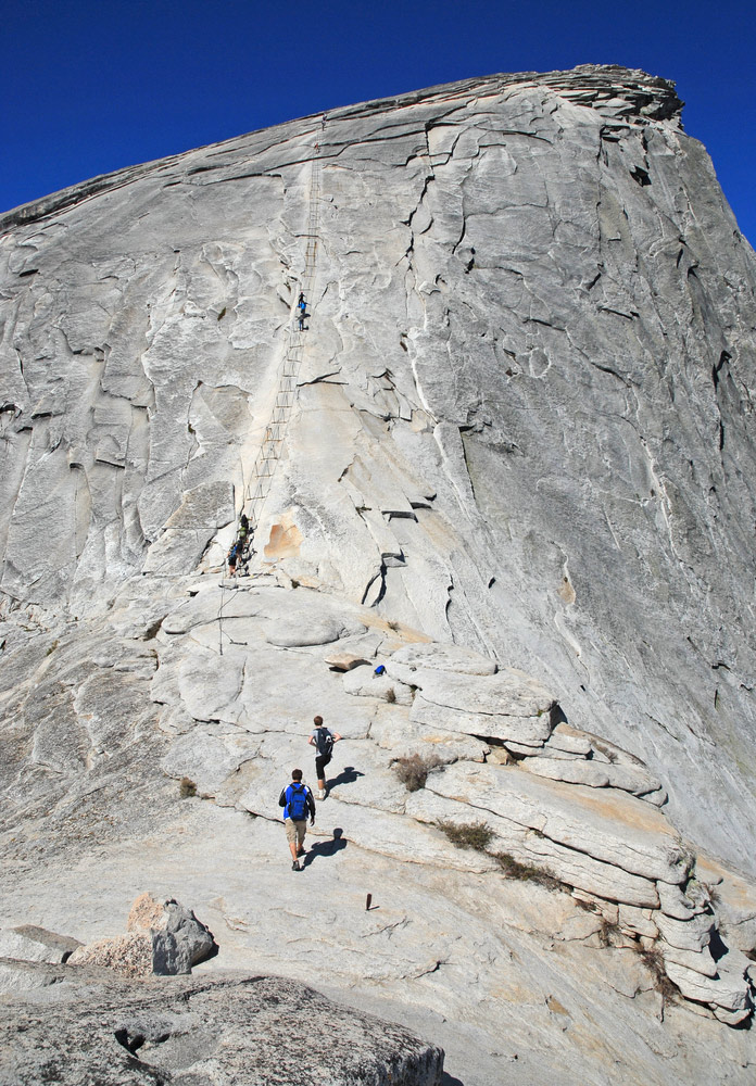 hikers acending the half dome trail