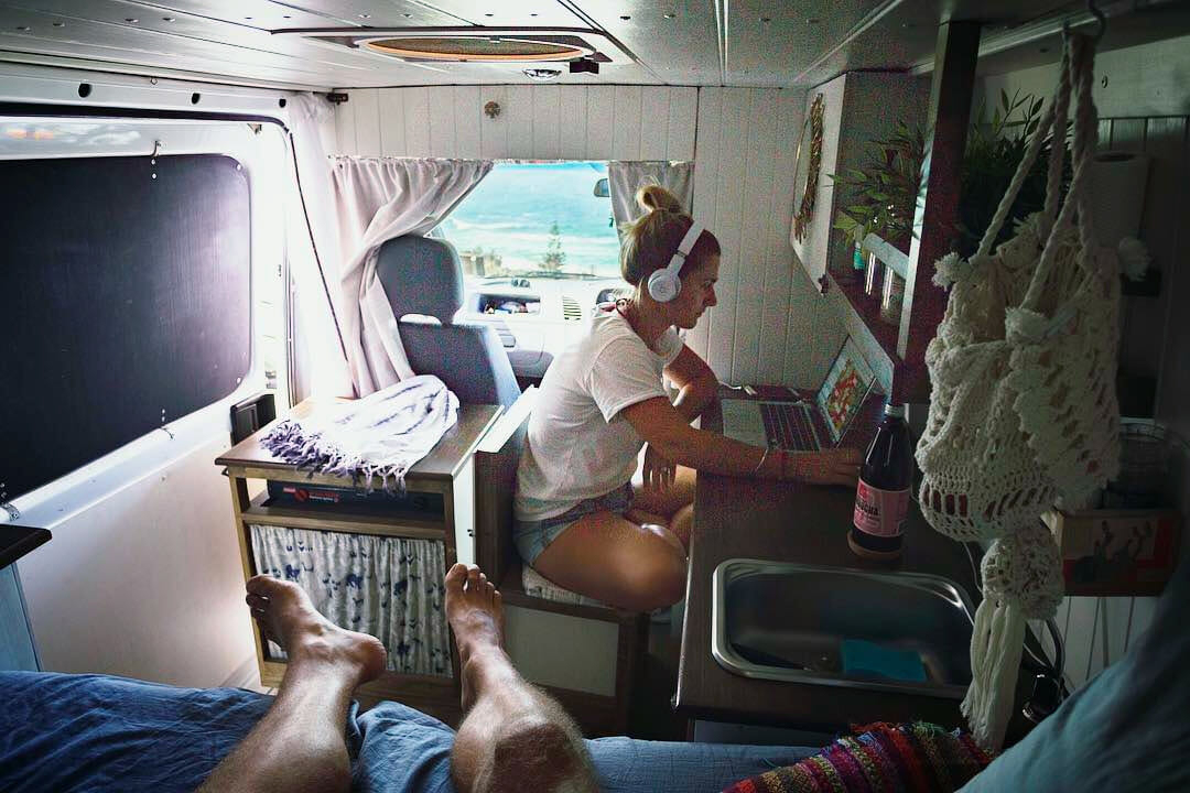 working on the road in a mobile DIY campervan conversion