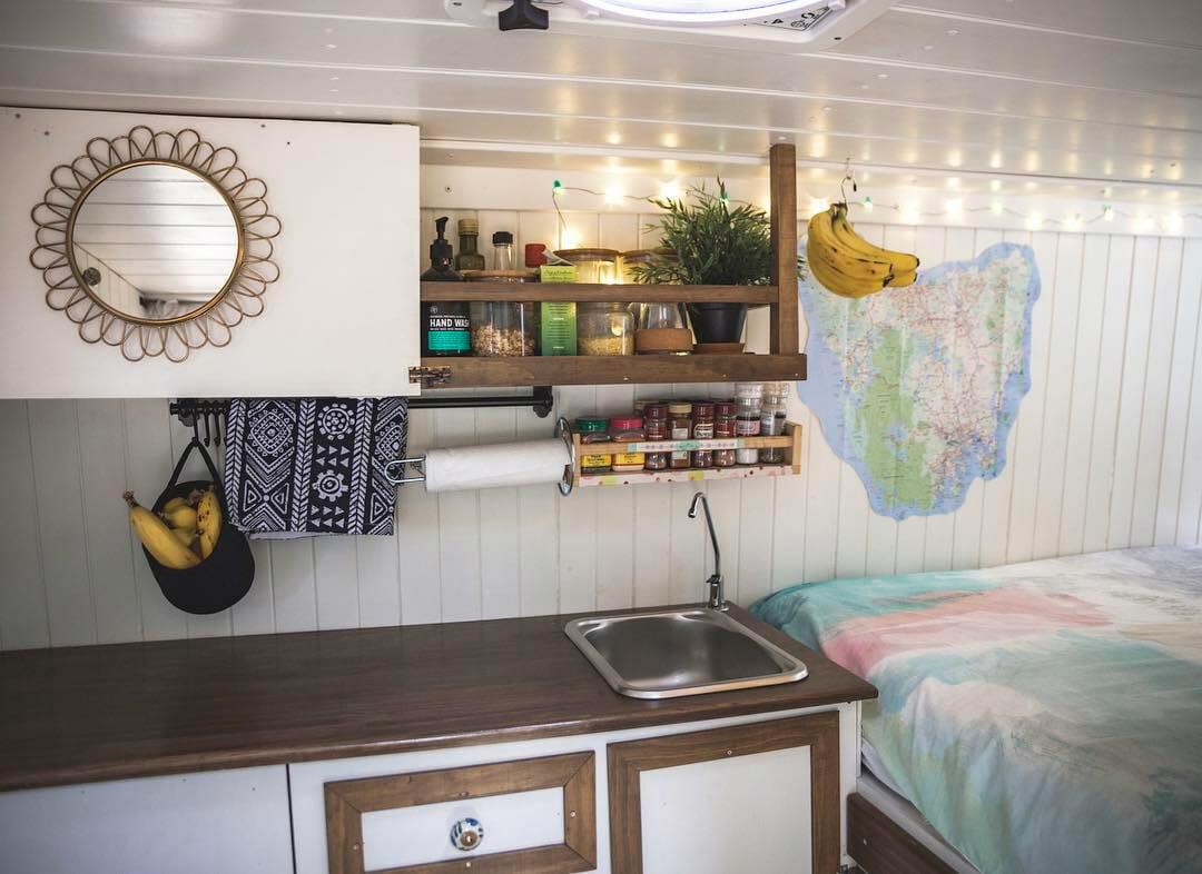 Organized diy campervan conversion kitchen build for #vanlife