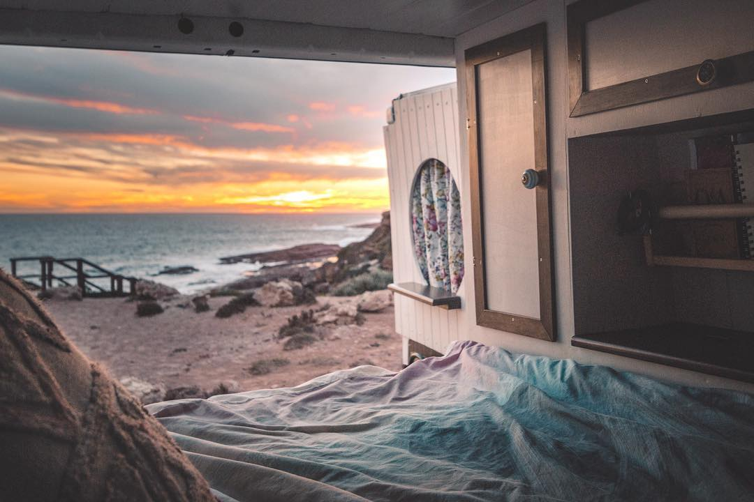 living in a van by the beach