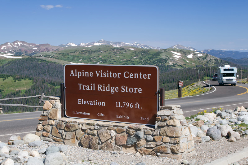 rv driving to the alpine visitor center on trail ridge road in rocky mountain national park colorado