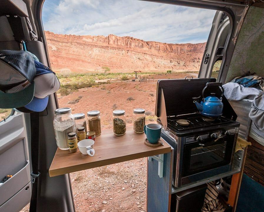 Saving space in a diy camper van conversion build