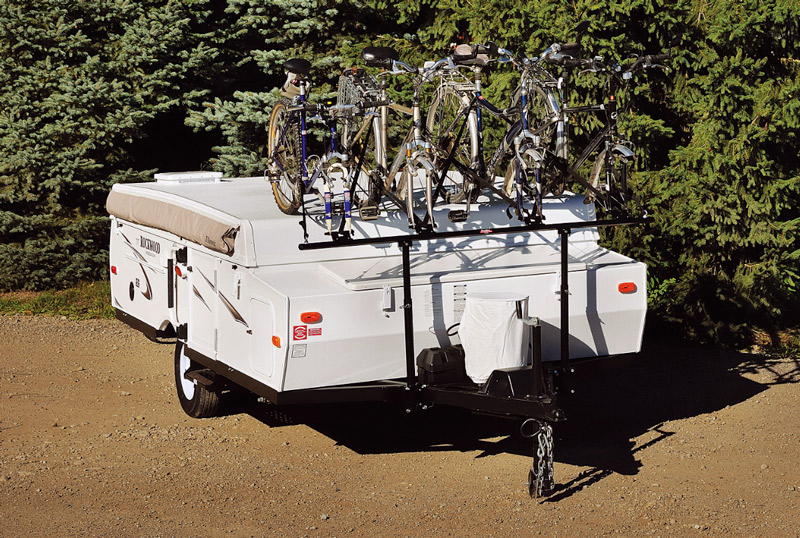 Bikes mounted on an A Frame trailer