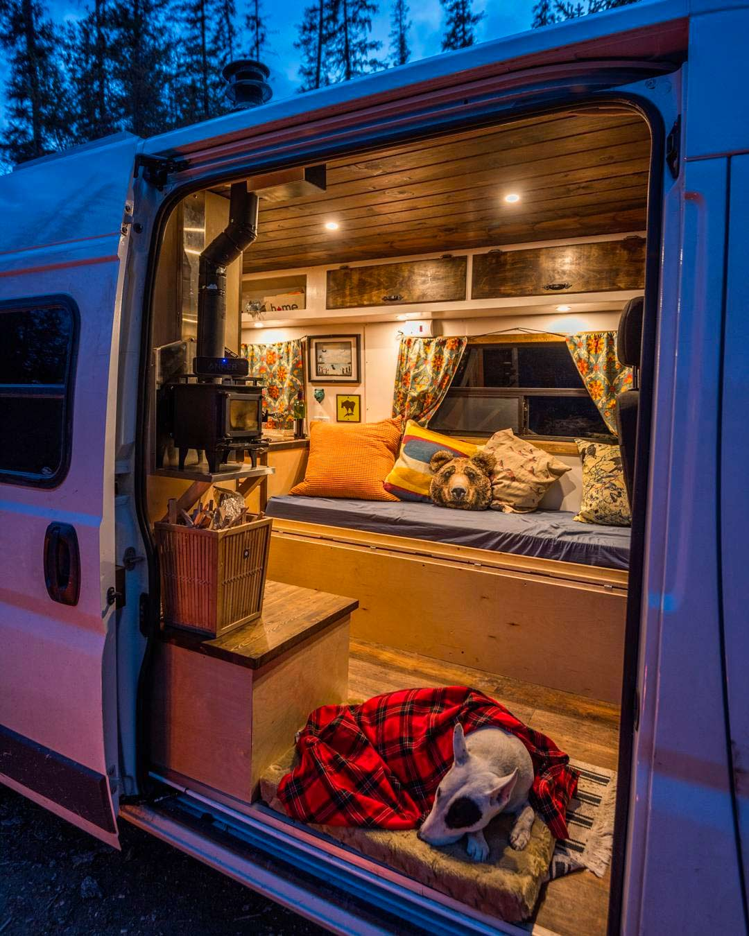 living in a cozy diy campervan conversion