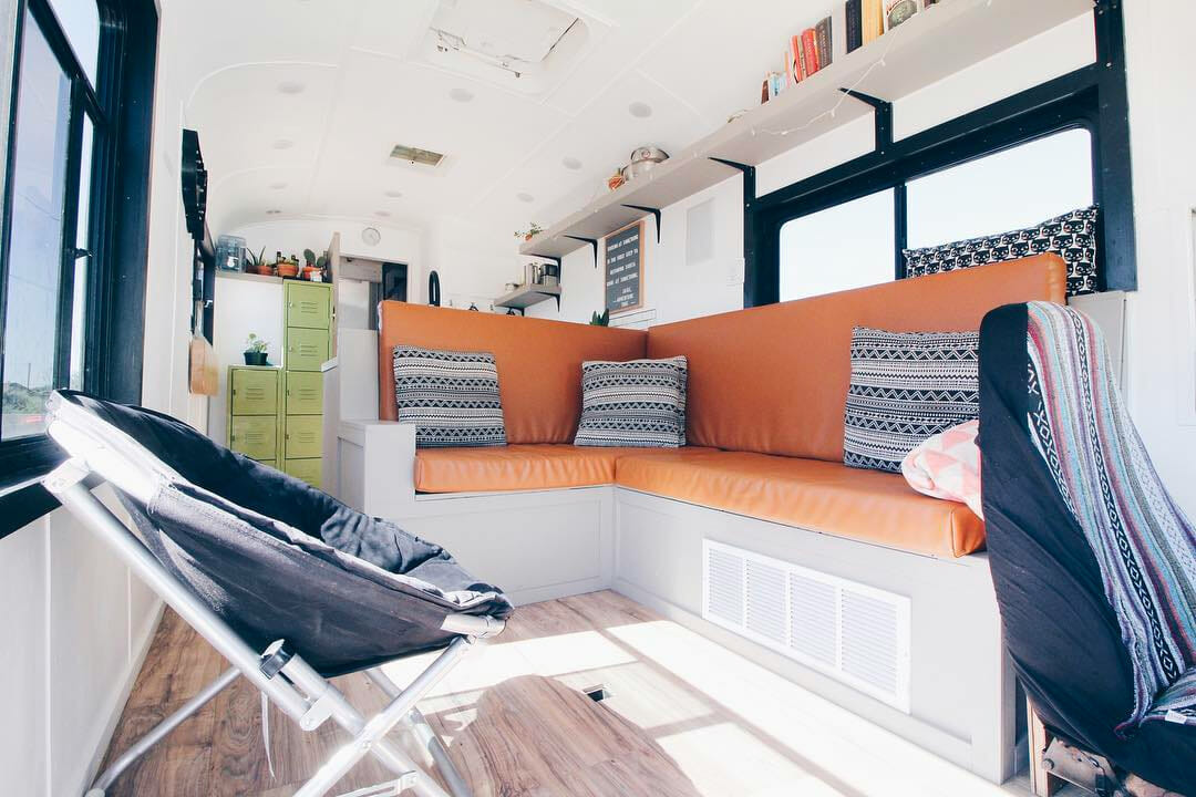 cool layout in a diy skoolie bus conversion