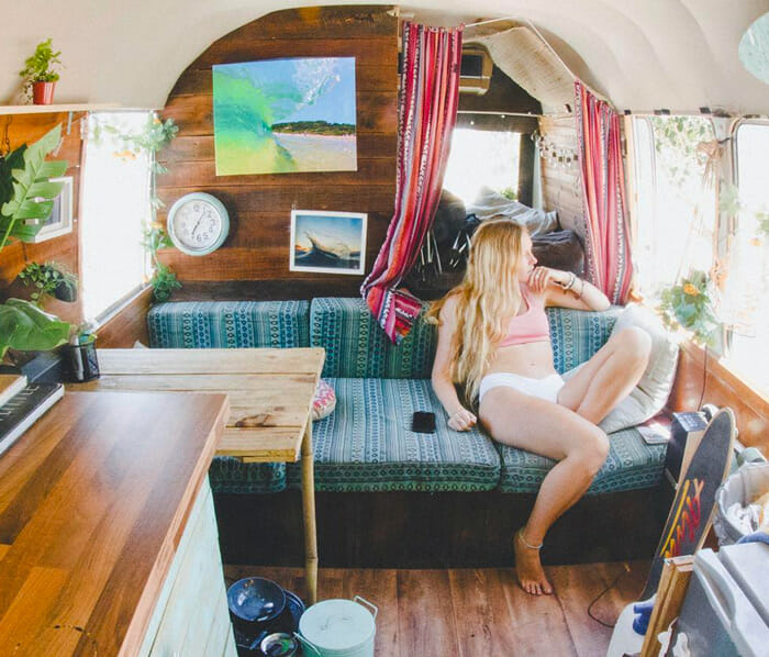 living in a diy skoolie bus conversion