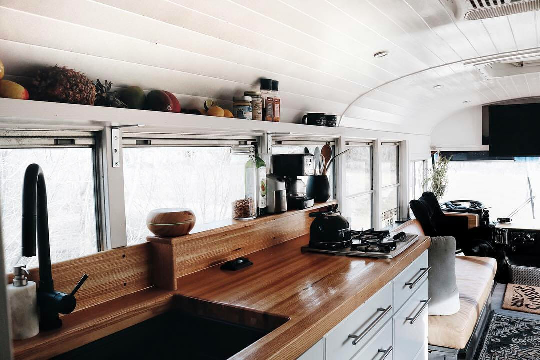 skoolie bus kitchen design
