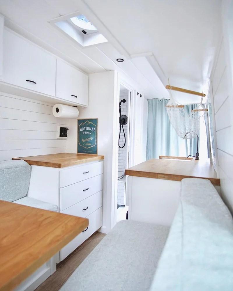 camper van with a kitchen and bathroom design