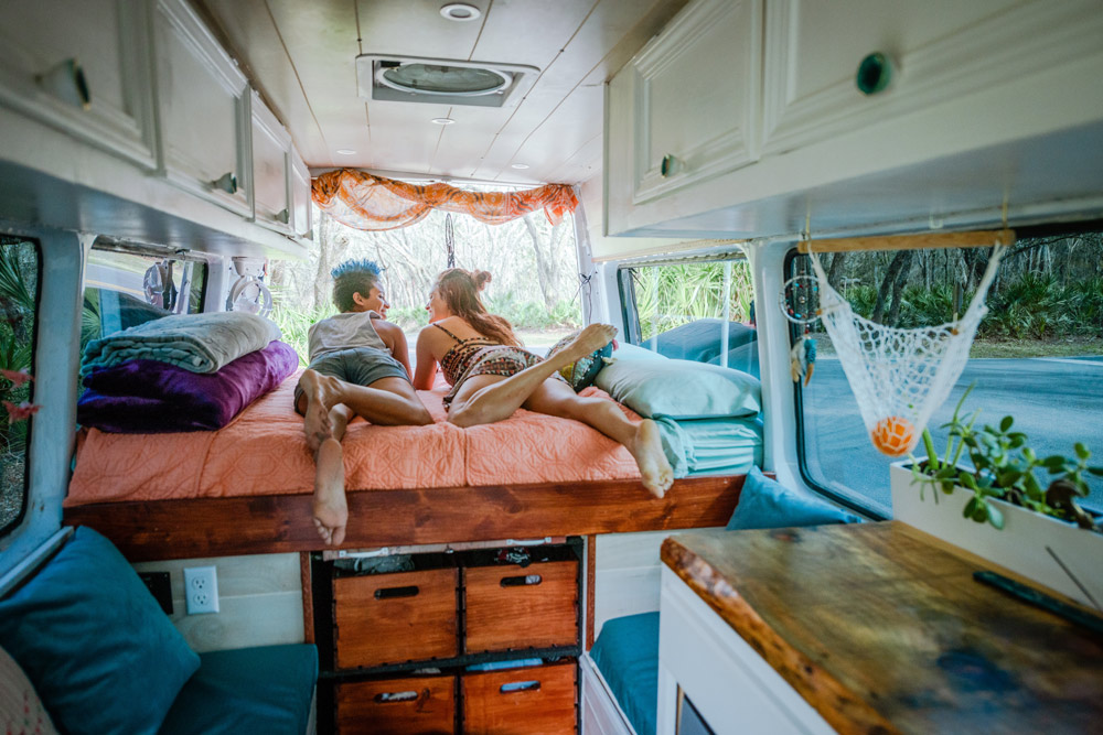 designing your camper van layout and storage space