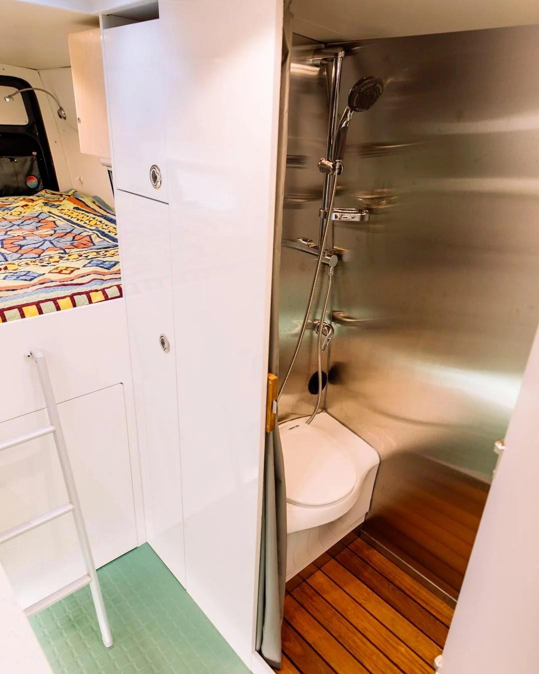 wet bath room in a camper van conversion