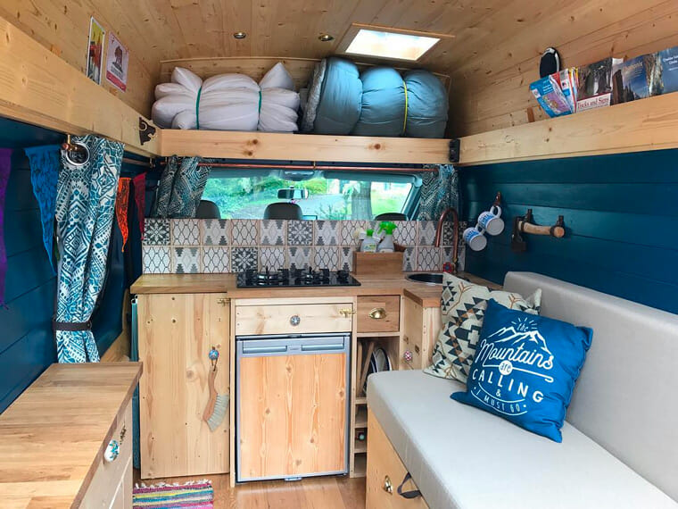 camper kitchen set up in a DIY conversion build