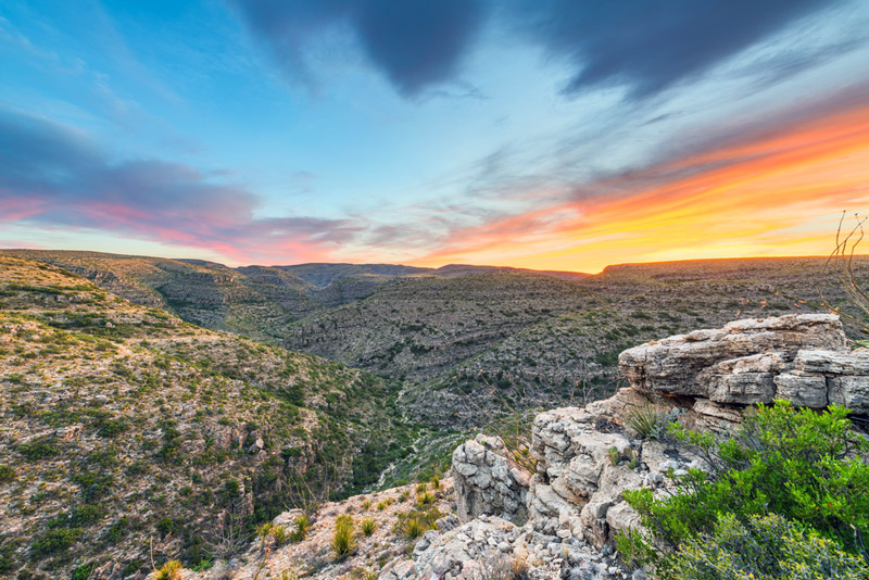 looking over the new mexico landscape in carlsbad caverns national park