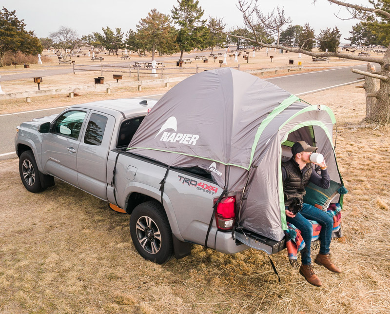 Camping in the back of a truck bed tent