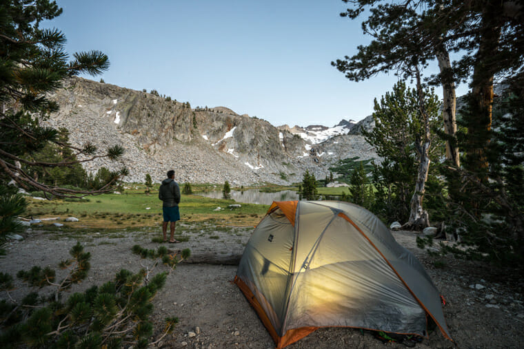 backcountry camping on the john muir trail overlooking donohue pass in yosemite national park