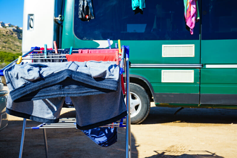using a portable washing machine in a diy camper van converison