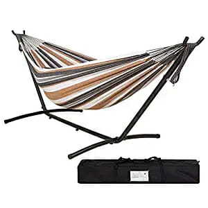 hanging a hammock on a portable stand