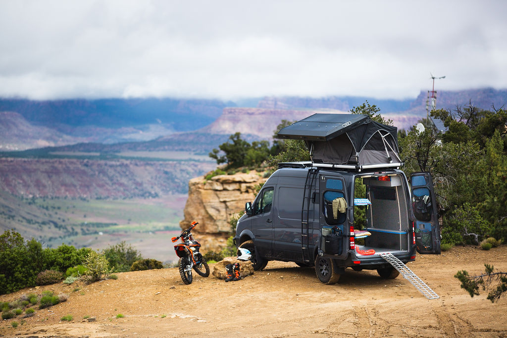 camping in a mercedes sprinter conversion from outside van