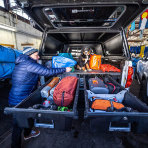 camping storage and organization drawers for a cargo van