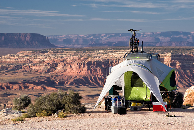 Camping in a small pop up camper trailer