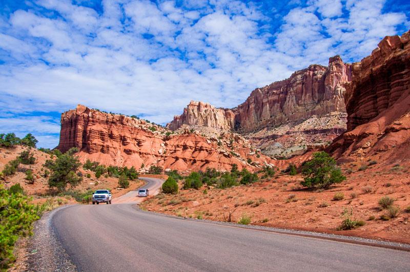 driving a scenic road in capitol reef national park utah