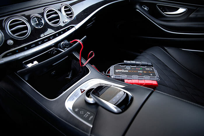 charging a portable jump starter with your car battery