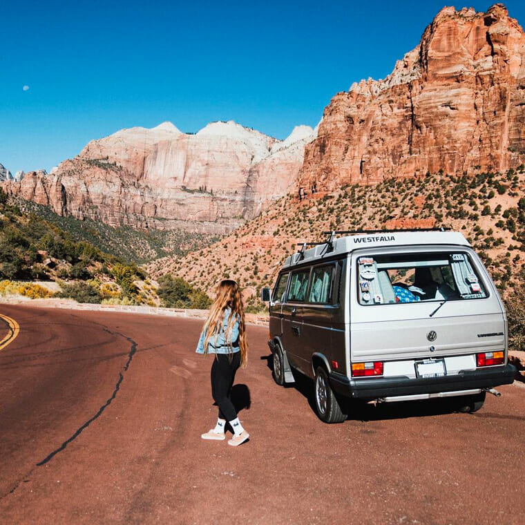 girl living in a van and traveling
